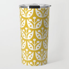 Mid Century Modern Flower Pattern Mustard Yellow Travel Mug