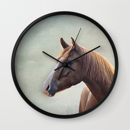 Horse. Drawing portrait Wall Clock