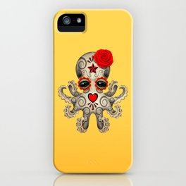Red Day of the Dead Sugar Skull Baby Octopus iPhone Case