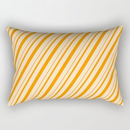 Bisque and Dark Orange Colored Lines/Stripes Pattern Rectangular Pillow