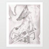 silent hill Art Prints featuring Silent Hill Pyramid Head by bluemagic