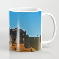 edinburgh Mugs featuring Edinburgh Castle by merialayne