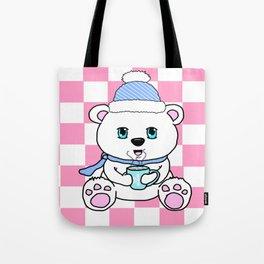 Polar Bear Drinking Hot Chocolate Tote Bag