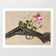 One Gun, One Rose, Two Moths Art Print