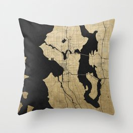 Seattle Black and Gold Street Map Throw Pillow