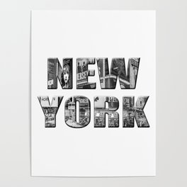 New York (photo filled type on white) Poster