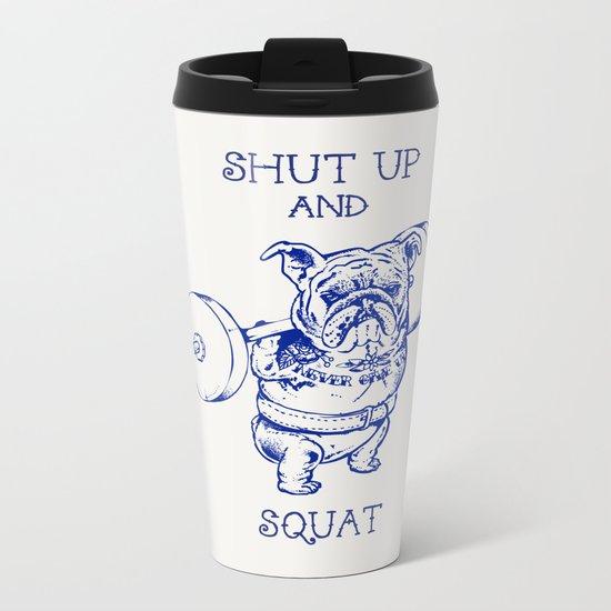 English Bulldog Squat Metal Travel Mug