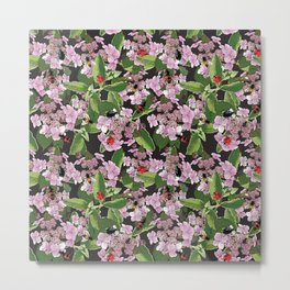 Floral insects pattern Metal Print
