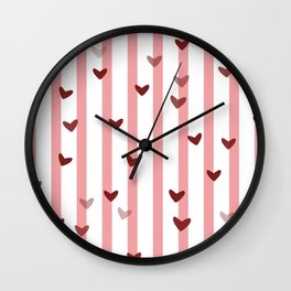 Love concept of hearts on striped background Wall Clock