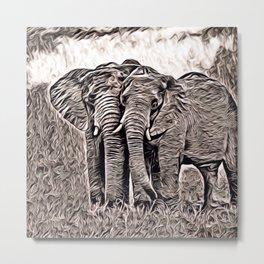 Rustic Style - Elephants Metal Print
