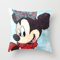 minnie mouse Throw Pillows featuring Minnie Mouse Fan Art by DanielleArt&Design