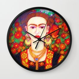 My other Frida Kahlo with butterflies Wall Clock