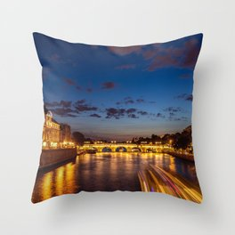 Illuminated Conciergerie at night - Paris, France Throw Pillow