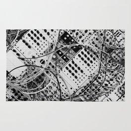 analog synthesizer  - diagonal black and white illustration Rug