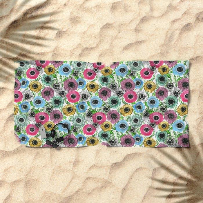 Ink Garden Beach Towel