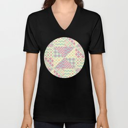 Yellow, Green & Pink Patchwork Pattern with Triangles Unisex V-Neck