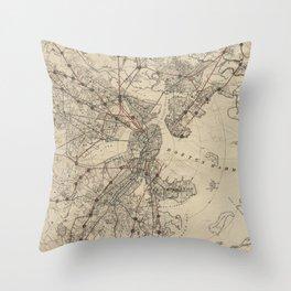 Vintage Map of Boston Railroads (1876) Throw Pillow