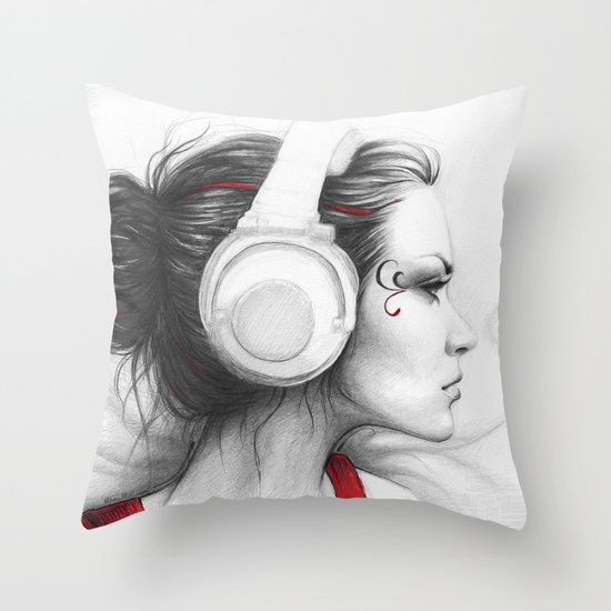 MUSIC Girl in Headphones Throw Pillow