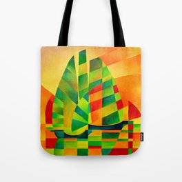Chinese Junks, Sunset, Sails and Shadows Tote Bag