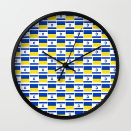 Mix of flag: Israel and Ukraine Wall Clock