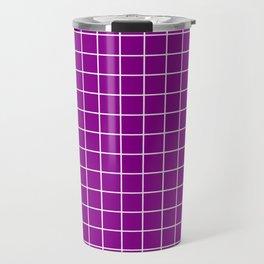 Dark magenta - violet color - White Lines Grid Pattern Travel Mug