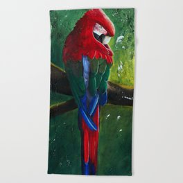 "Aras parrot - ""A morning like the others"" - by LiliFlore Beach Towel"