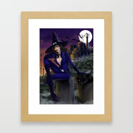 Sexy witch on Halloween night Framed Art Print