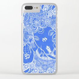Ganesha Lineart Blue White Clear iPhone Case