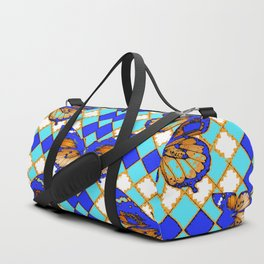 ARGYLE ABSTRACTED  BROWN SPICE  MONARCHS BUTTERFLY & BLUE-WHITE Duffle Bag