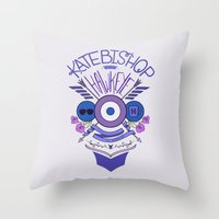 kate bishop Throw Pillows featuring Katie Kate by emptystarships