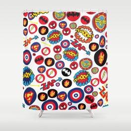 Superhero Stickers Shower Curtain