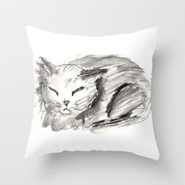 Sleeping Cat Pen & Ink Throw Pillow