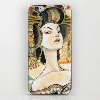 klimt iPhone & iPod Skins featuring Klimt Oiran by Sara Richard