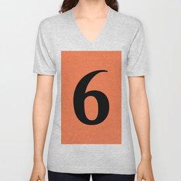 6 (BLACK & CORAL NUMBERS) Unisex V-Neck