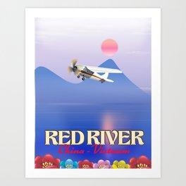 Red River China Vietnam travel poster. Art Print
