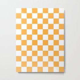 Checkered - White and Pastel Orange Metal Print