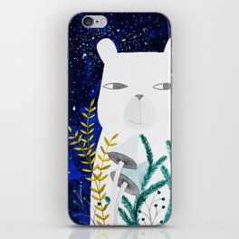 polar bear with botanical illustration in blue iPhone Skin