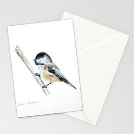 """""""Chicka-dee-dee-dee"""" a painting of a Chickadee by Teresa Thompson Stationery Cards"""