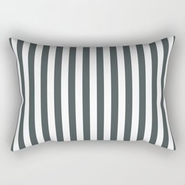 PPG Night Watch Pewter Green & White Stripes, Wide Vertical Line Pattern Rectangular Pillow