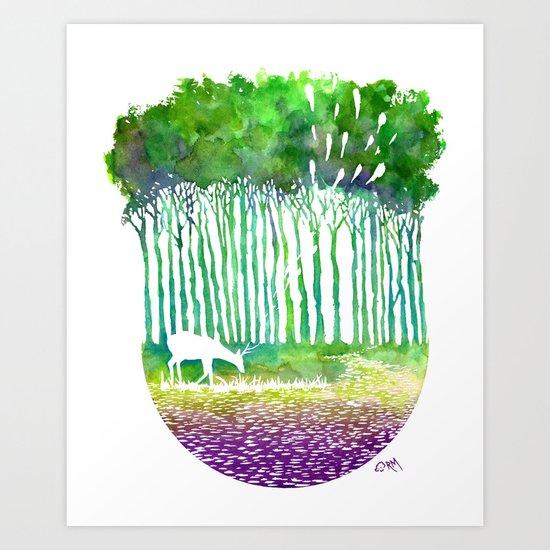 Deer Path Art Print