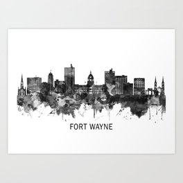 Fort Wayne Indiana Skyline BW Art Print