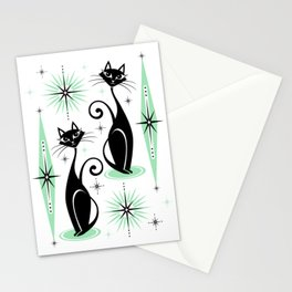 Mid Century Meow Retro Atomic Cats - w/ Mint on White Stationery Cards