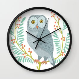 OWL WITH BERRIES Wall Clock