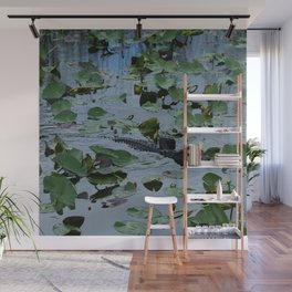 Florida Gator Amongst The Waterlilies Wall Mural