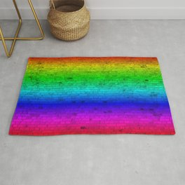 Bright Neon Rainbow Color Wheel Spectrum Brick Wall Rug