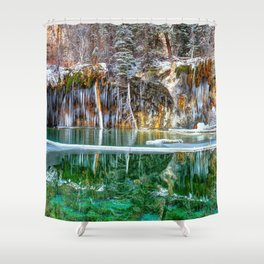 A Serene Chill - Hanging Lake Colorado Panorama Shower Curtain