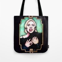 ahs Tote Bags featuring LG as The Countess - AHS Hotel by boypetal