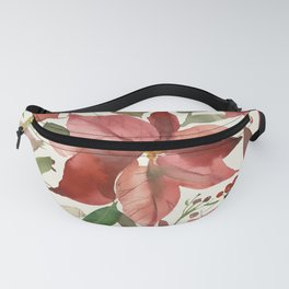 Euphorbia Christmas Watercolor Flowers Fanny Pack