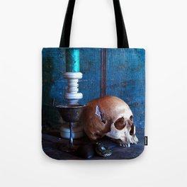 Skull in dark setup 2 Tote Bag