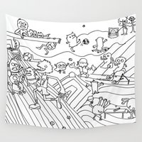 sports Wall Tapestries featuring sports illustrated by WingYee Doodles